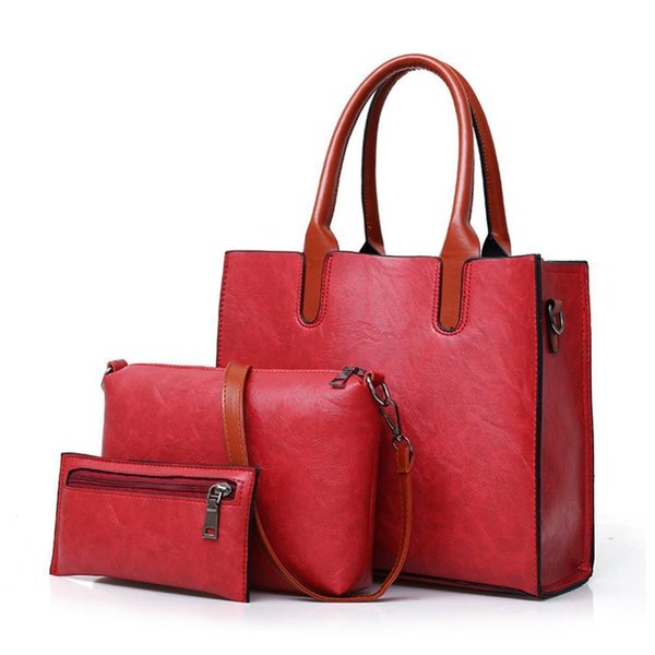 New Women Bags 2 Pcs/Set Leather Handbag Women Large Tote Bags Lady Shoulder Bag Handbag+Messenger Bag+Purse Sac A Main