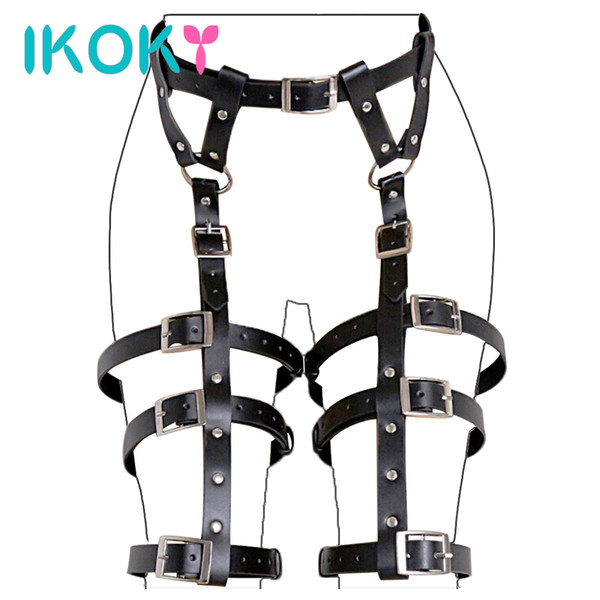Ikoky Flirt Clothes Pu Leather Sm Bondage Gear Fetish Sex Toys For Couples Erotic Products Adult Games Role Play Y190716