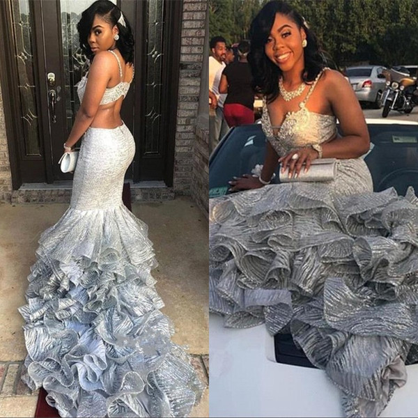 Spaghetti Straps Mermaid Prom Party Dresses 2019 Silver Bead Lace Applique Layered Ruffles Backless Floor Length Formal Evening Gowns