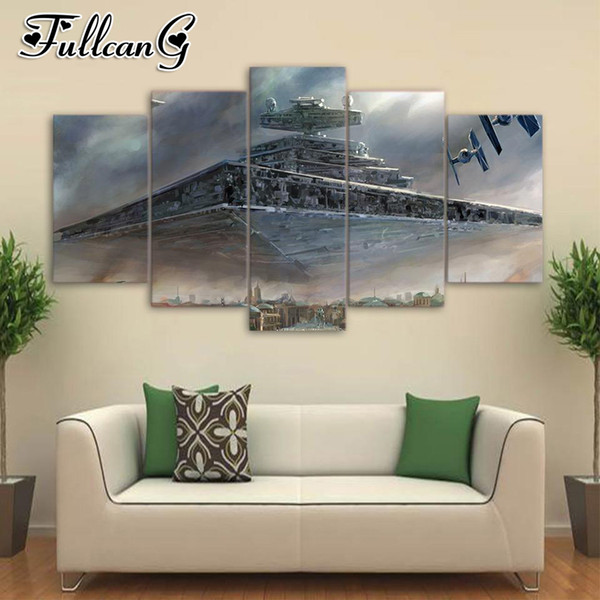 wholesale 5 piece diy diamond painting spaceship full square/round drill 5d mosaic embroidery multi-picture home decor FC703