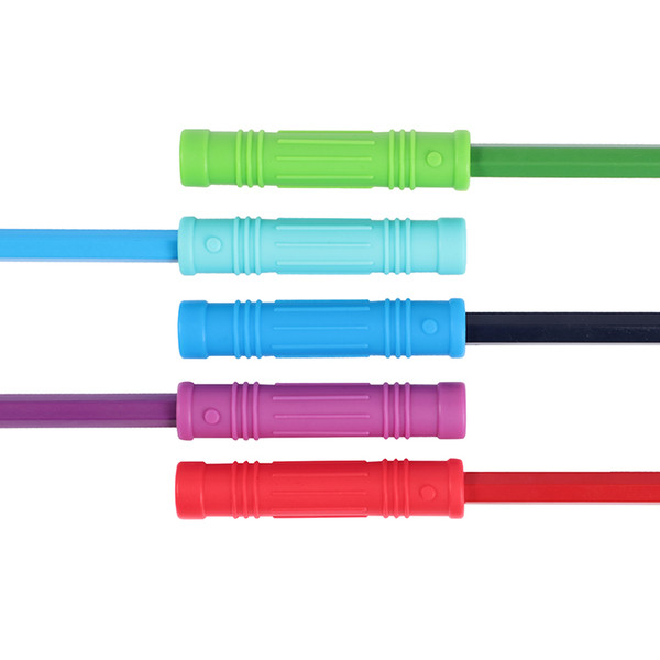top popular Silicone Teethers Baby Chewing Pencil Toppers Bite Pencil Cover Tubes Safe Food Grade Silicone Teething Toys 2020