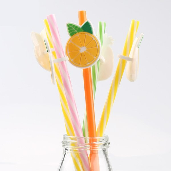 Plastic Drinking Straws 6 Designs Reusable Cute Fruit Animals Straws Party Bar Drinking Juice Drink Tools 200 Pieces ePacket