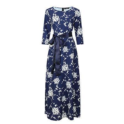 Brand Women Long Dress Hot Sale Spring Summer Russian Style Print Dresses Long Floor-Length Elegant Vestidos