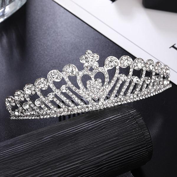 Direkt ab Werk neue europäische und amerikanische Braut Krone Tiara Schmuck Haarschmuck Silber Kristall Stirnband Hochzeit Zubehör Großhandel