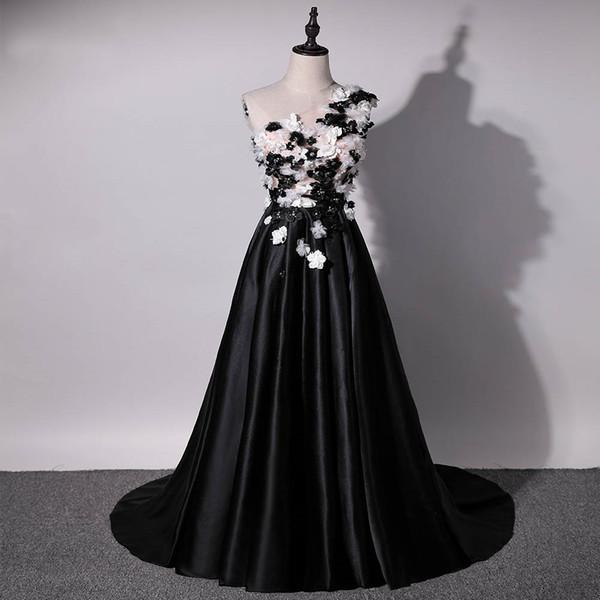 Compre 2019 Nuevo Diseño Vestido De Noche Negro Un Hombro 3d Flores Satin Runway Moda Vestidos Largos Vestidos Formales Vestidos De Graduación A