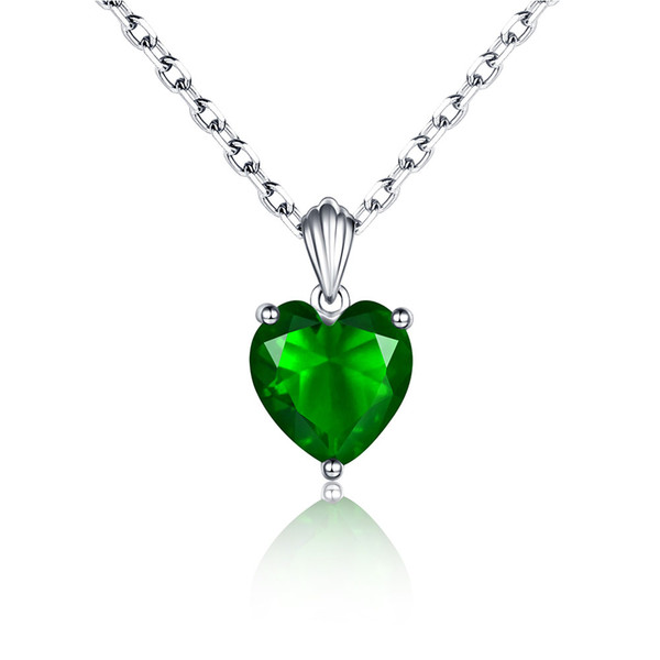 925 Sterling Silver Emerald Necklace Sapphire Pendant Ruby jewelry heart Necklaces & Pendants for women silver 925