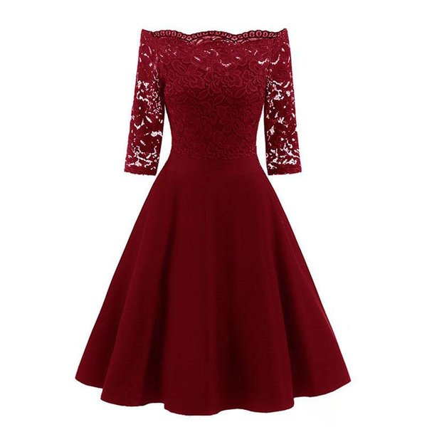 2019 Autumn Women Elegant See Through Off Shoulder Skater Lace Party Cocktail Mother of Bride Bodycon Dress