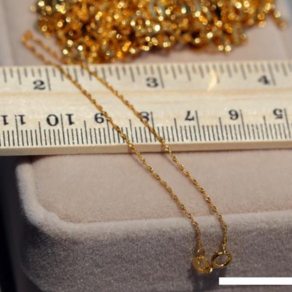 1PCS real sólido 18k collar de oro amarillo de las mujeres suerte Tiny Cadena Singapur Enlace 16