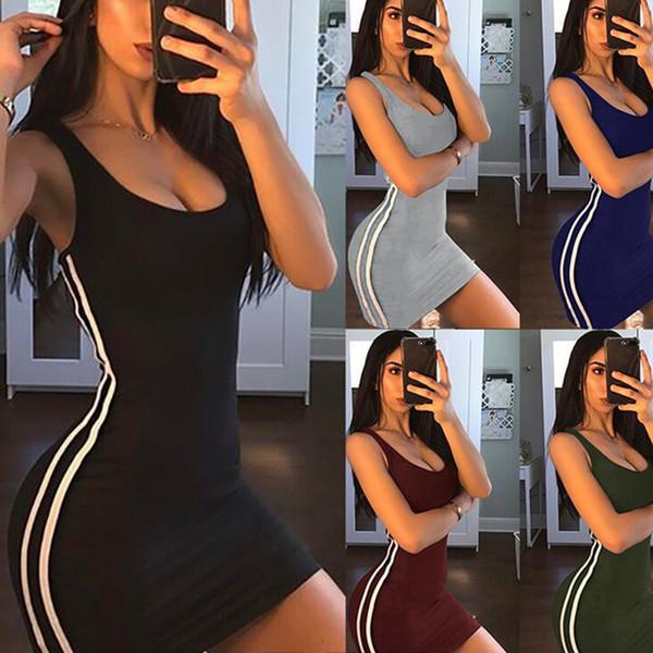 Женское платье 2019 Лето Новый Повседневный сплошной цвет Узкая узкая юбка в полоску Мини-юбка Спортивный стиль Юбка