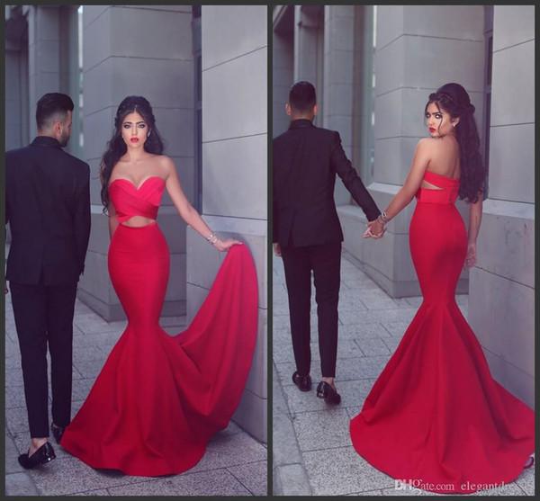 2019 Новые Mermaid Red Sweetheart Дешевые индийские платья Пром Длинные элегантные вечерние платья партии Вечерние платья