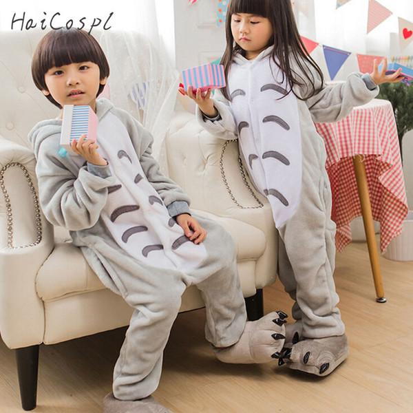 costume boy Totoro Pajama Onesie Kids Children Anime Cosplay Costume Boys Girls Lovely Gray Cat Sleepwear Winter Flannel Warm Pajamas Suit