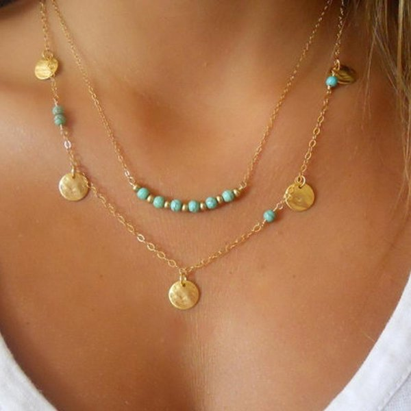 Necklaces Pendants Vintage Boho Turquoise Beads Tassel Metal Bar Multilayer Necklace Alloy Gold Plated Long Charms Chains Beach Necklaces