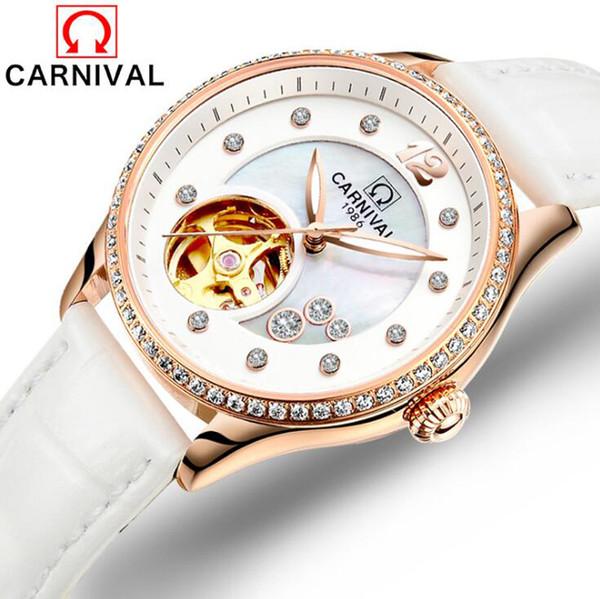 Montre Femme Otomatik Montre Mécanique Marque Modu Horloge Creuse Diamant Montre Bileklik Cuir (beyaz)