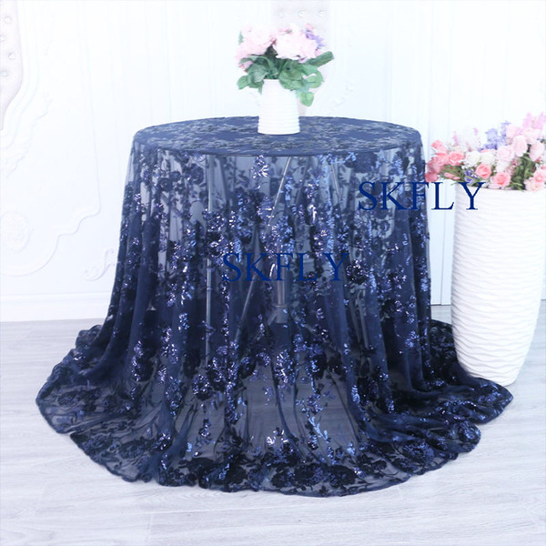 CL090A New arrival custom made 2019 gorgeous China supplier fancy navy blue embroidery silver sequin lace wedding table cloths