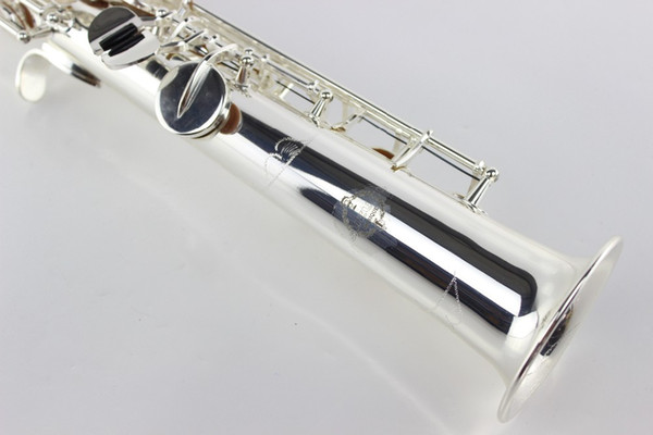 SUZUKI Brass Soprano Straight Pipe B Flat Saxophone Musical Instrument Silver Plated New Arrival Sax with Case Mouthpiece Accessories