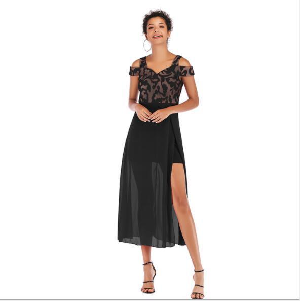 Abiti estivi per le donne Abiti da festa di design Slash Neck Ladies Maxi Print Gonne Fashion Party Dresses 3 colori S-L all'ingrosso
