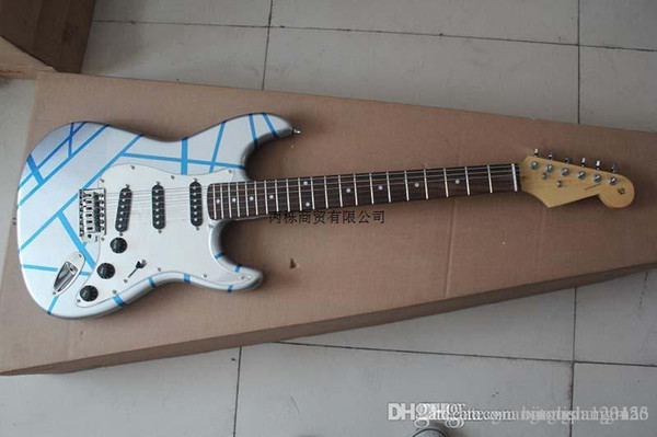 Freies Verschiffen Neue ST-Silberstreifenmuster-E-Gitarre reine handgemachte E-Gitarre auf Lager, S-S-S