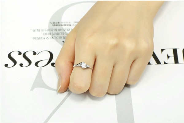 High Qulity Silver White Gold Plated Swiss Diamond Rings For Women Luxury Wedding Jewelry 30pcs CNY86