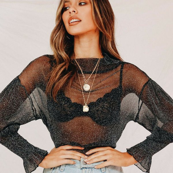 New Style Women T-Shirts Hollow Mesh Net T-Shirt Long Sleeve Tee Tops Transparent See Through Clubwear Solid Fashion Hot 2019