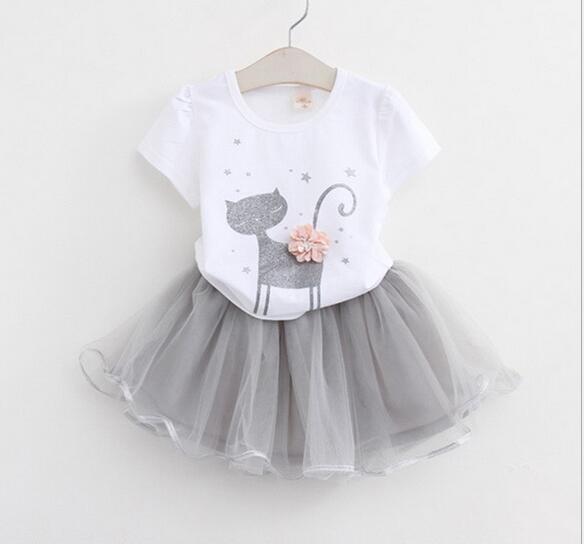 kids baby girls T-shirt tops + shorts pants / dress clothes outfits 2pcs 1set Summer Outfits Suit Costume For Girls Tutu Skirt KKA6560