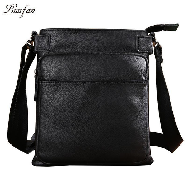 Mens Genuine Leather Shoulder Bag For Ipad Black Real Leather Casual Messenger Bag Cow Small Business Vogue
