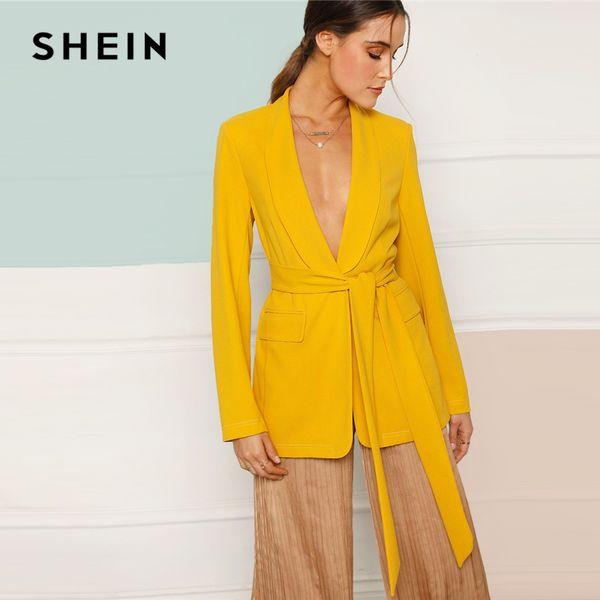 shein yellow shawl collar self belted single breasted solid plain blazer women pocket 2019 spring minimalist coat outerwear