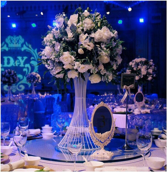 Extraordinary Wedding Trumpet Shape Gold White Metal Flower Stand Road Lead For Wedding Party Banquet Home Decoration Usage Royal Blue And Silver