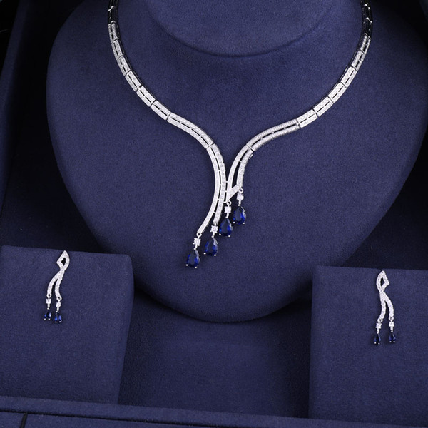 janeklly tendance Collier De Mariage Boucles D'oreilles Pour Femmes Accessoires Pleine Zircone De Mariage Ensembles De Bijoux De Mariée pendientes mujer moda