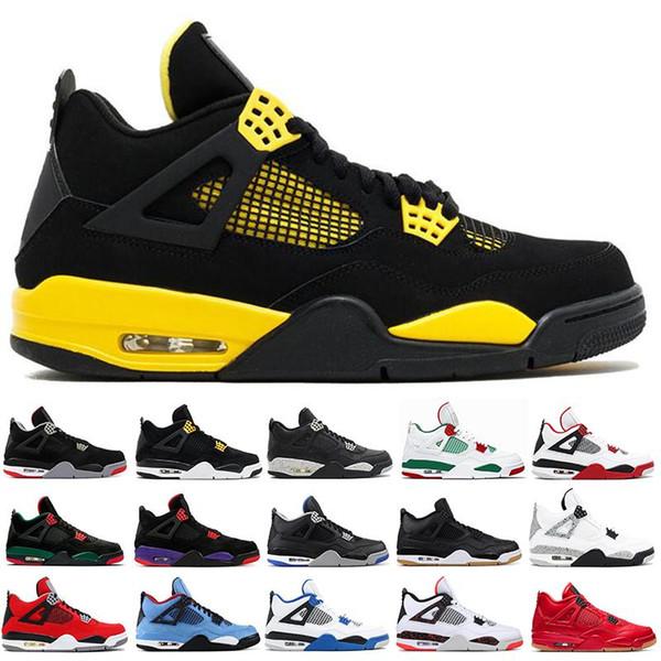 4 4s Mens Basquete Sapatos Criados ROYALTY PRETO CAT Hot Punch preto pizzeria THUNDER CACTUS JACK Corredor Designer Tênis Esporte tênis de corrida