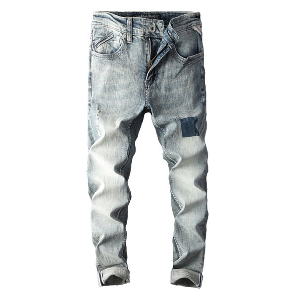 New Jeans Men with embroidery ripped print male skinny jeans modis men's grey clothes 2018 streetwear for Autumn Spring hip hop