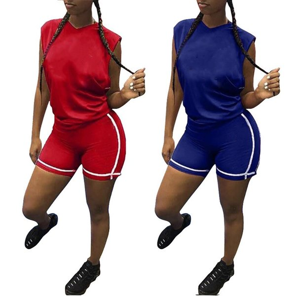 womens 2 piece set tracksuit hoodie legging outfits sleeveless shirt shorts sweatsuit pullover tights sportswear sports suit 0725