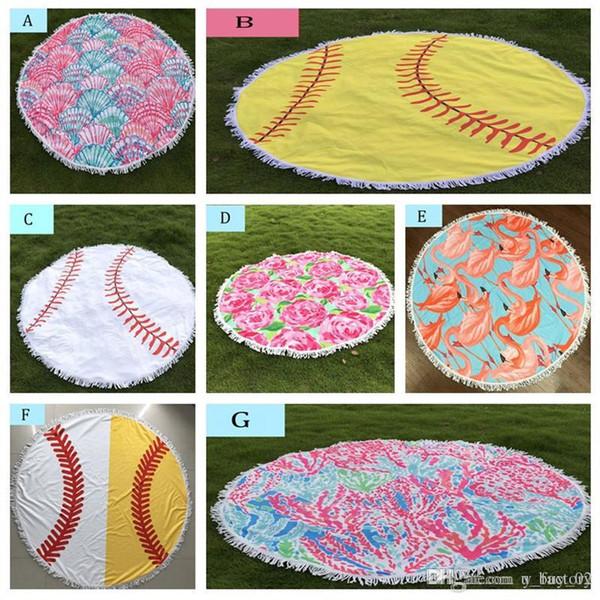 Flamingo Baseball Softball Tapestry Beach Towel Round Tablecloth with Tassel Fringing Beach Serviette Covers Beach Shawl Wrap Yoga Mat