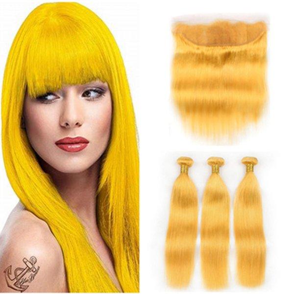 Peruano Cabelo Humano Amarelo Colorido Em Linha Reta Bundles 3 Pcs com Fechamento Frontal 13x4 Puro Amarelo Completo Lace Frontal com Tece 4 Pcs Lote