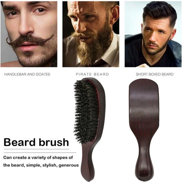 Erkekler Sakal Fırçası Doğal Domuz Kıl Barber Saç Şekillendirme Tarak Ahşap Kol Yüz Masajı Anti Statik Temizleme Fırçası Tıraş Araçları