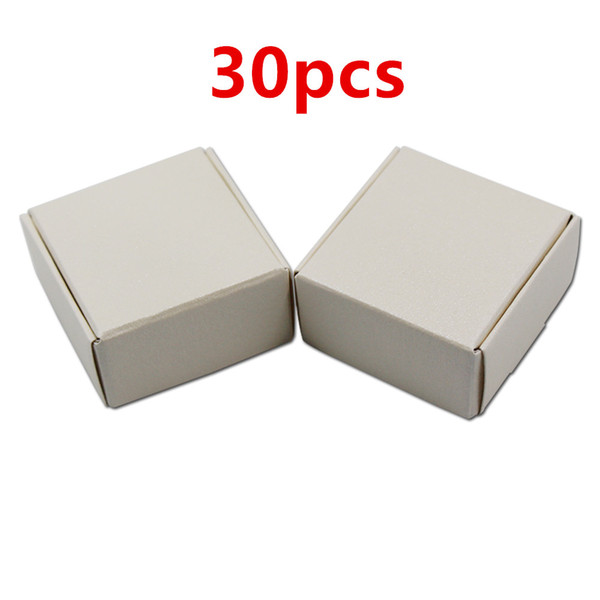 30pcs Small 4*4*2cm Gift Packaging Kraft Paper Box For Jewelry Event Party Wedding Candy Chocolate Bakery Baking Cake DIY Soap free shipping