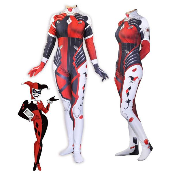New Women Superhero Harley Quinn Cosplay Halloween Costume Lycar Spandex Party Soft Zentai Jumpsuit Bodysuit D.VA Digital Printing pattern