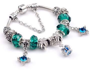 Fashion 925 Sterling Silver Green Crystal Murano Lampwork Glass & Crystal European Charm Beads Fits Pandora Charm bracelets Style Bracelets8