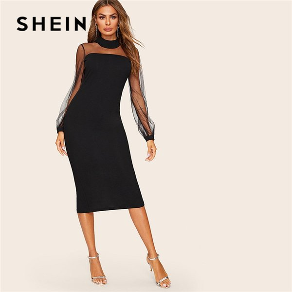 c55a65a2bd Black Mesh Yoke Lantern Sleeve Slit Hem Pencil Bodycon Dress Women Spring  Lace Stand Collar Solid