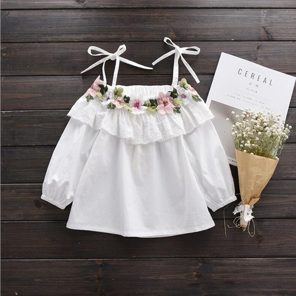 New 2017 Cotton Little Girls Shirt Off The Shoulder White T Shirt Kids Top Children Clothes Tolder Clothing Kids Summer Blouse Y19051003