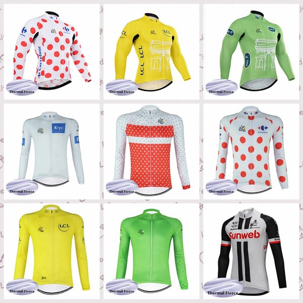 SUNWEB AND TOUR DE FRANCE Cycling Jersey Men Pro Team Outdoor Sports Winter Thermal Fleece Long Sleeve MTB Clothing Breathable 520016
