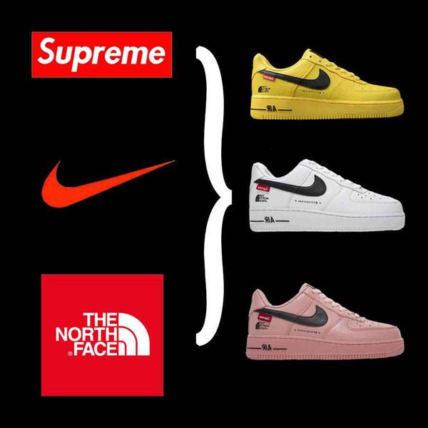 Top qualità nome Nike X Suprème X The North Face Air Force 1 Sup Viso force congiunta Genuine Leather scarpe da ginnastica rosa Correnti PATTINI 120804