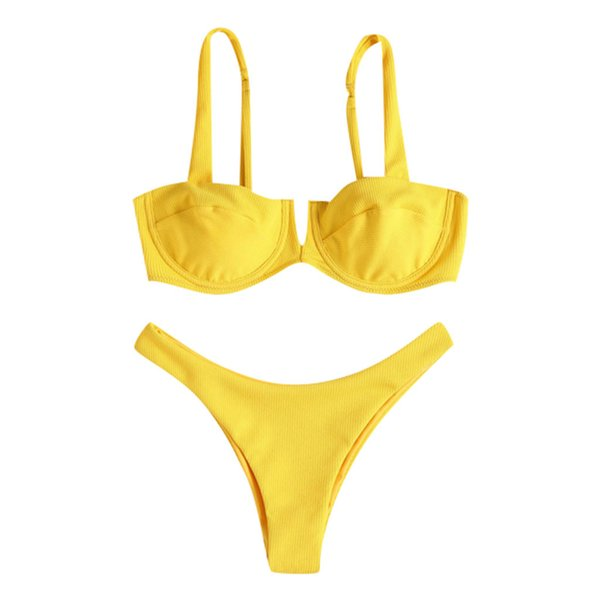 Womail ladies strap bikini suit swimsuit beachwear set solid color sexy one swimsuit M301205