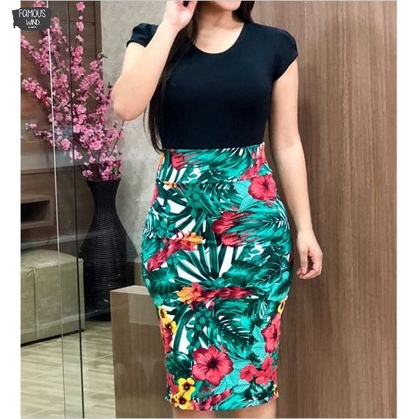 Women 2019 Summer Dress Sexy Vintage Elegant Floral Pencil Dresses Evening Party Plus Print Women Dress Bodycon Vestidos Sizes