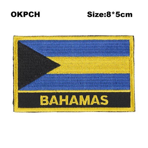 Ücretsiz Kargo 8 * 5 cm Bahamalar Şekil Meksika Bayrağı Nakış Demir on Patch PT0024-R