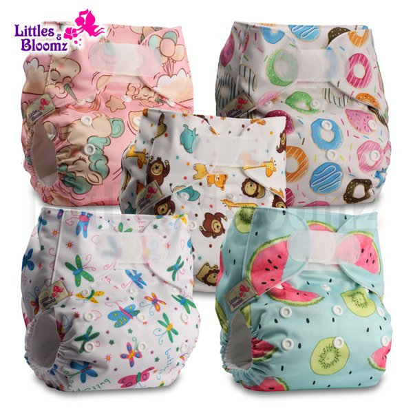 Littles /& Bloomz Pattern 65 Reusable Pocket Cloth Nappy Set of 1 Fastener: Hook-Loop with 1 Bamboo Insert