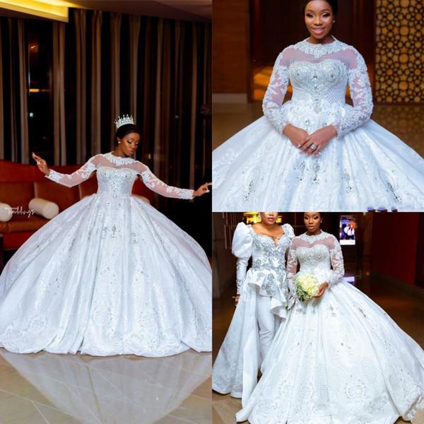 2020 Muslim robe de bal robes de mariée à manches longues col montant en cristal Appliqued Robes de mariée en dentelle Une ligne de balayage train De Novia Vestido