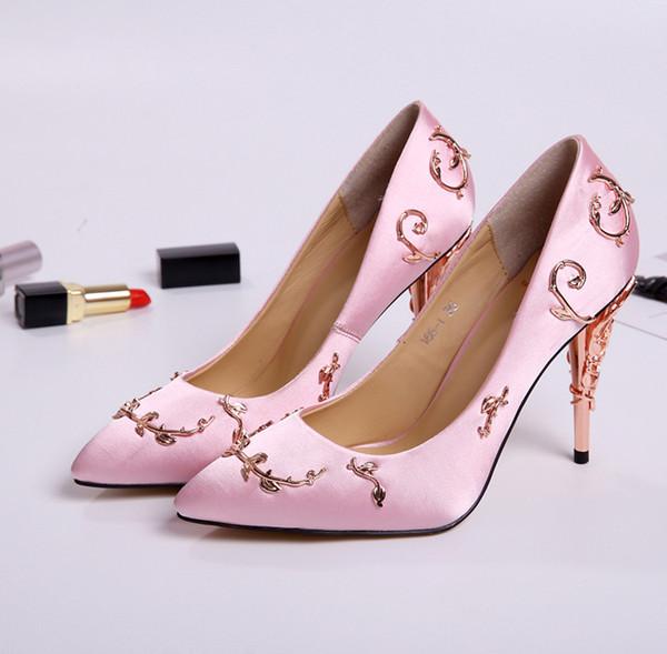 Ornate metal Filigree Leaf decor Women Pumps Multi-Colors elegent Women Shoes Stiletto high heel bridal Wedding Summer Shoes
