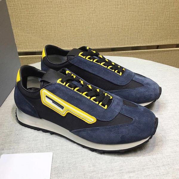 2019 Nuevas zapatillas de deporte de gamuza y nylon Zapatos de hombre Estilo vintage Zapatos con cordones para hombres Tipo Marcas de moda de lujo Zapatos Zapatillas gruesas