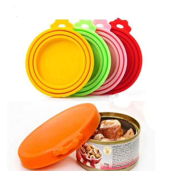 Los alimentos para mascotas pueden cubrir tapas de silicona para perros y gatos Comida Tamaño universal Fit 3 Tamaño estándar Latas de alimentos BPA libre SN3023