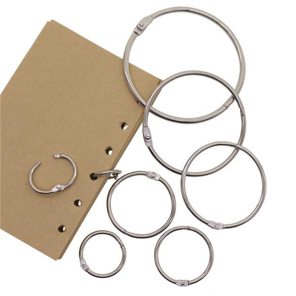 top popular ducation & Office Supplies High Quality 2Pcs Metal Loose Leaf Book Binder Hinged Rings Keychain Album Ring Scrapbook Binders Craft Photo ... 2021